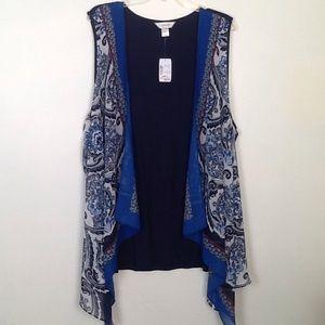 CJ Banks scarf vest in blue paisley.